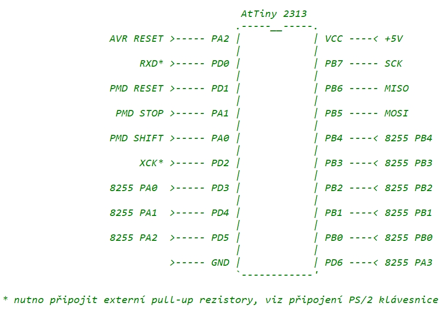 Připojení ATTiny2313